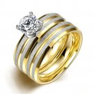 2PCS/1SET Titanium Steel Golden Marriage Engagement Ring (6)