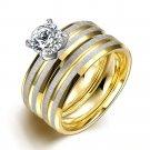 2PCS/1SET Titanium Steel Golden Marriage Engagement Ring (7)