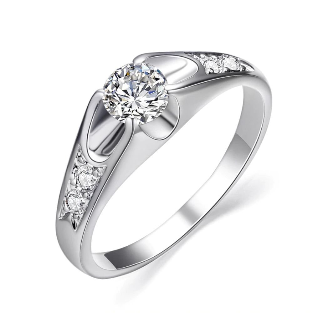 Fashion White Gold Color Mounting 0.5 ct CZ Cubic Zirconia Ring For Women (8)