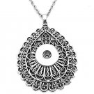 Silver Plated Snap Button Pendant Necklace For Women