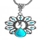 Turquoise Stone Lovely Peacock Shape Women Pendant Necklace