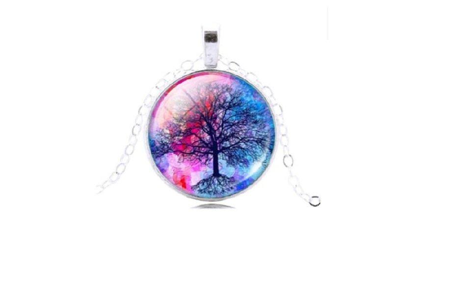 Tree Shape Glass Cabochon Pendant Necklace For Women