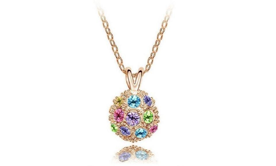 Crystal Disco Ball Czech Rhinestones Pendant Necklace For Women
