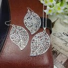 African Beads Silver Plated Leaf Necklace Earring Jewelry Sets For Women