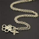 Fashion Metal Alloy Bee Honeycomb Insects Pendant Necklace