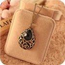 Vintage Black Heart Water Drop Semi-Precious Stone Necklace Pendant For Women