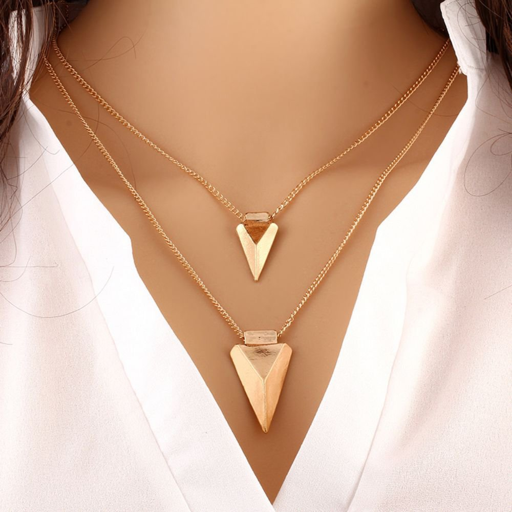 Fashion Multilayer Tassels Bar Coin Arrow Pendant Necklaces For Women