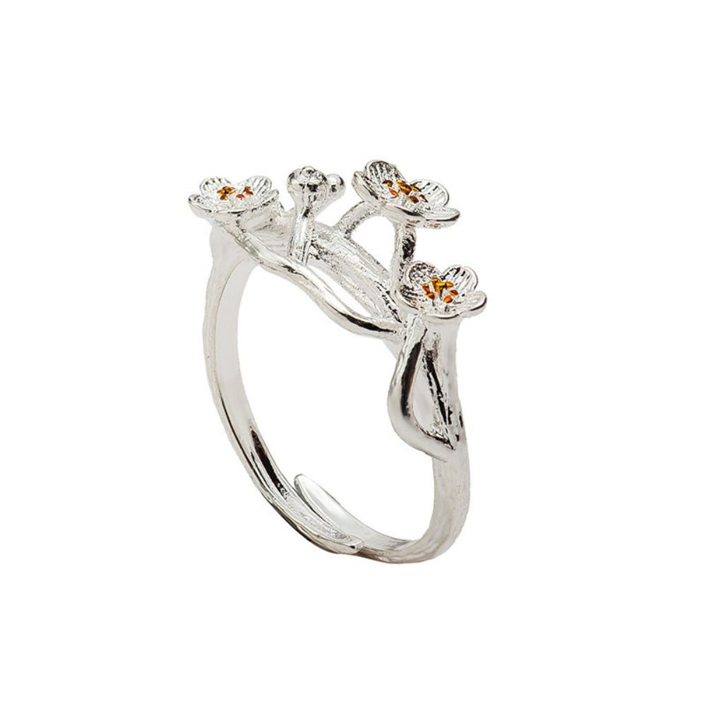 Fashion Silver Branches Cherry Blossom Ring Flower Open Ring For Women