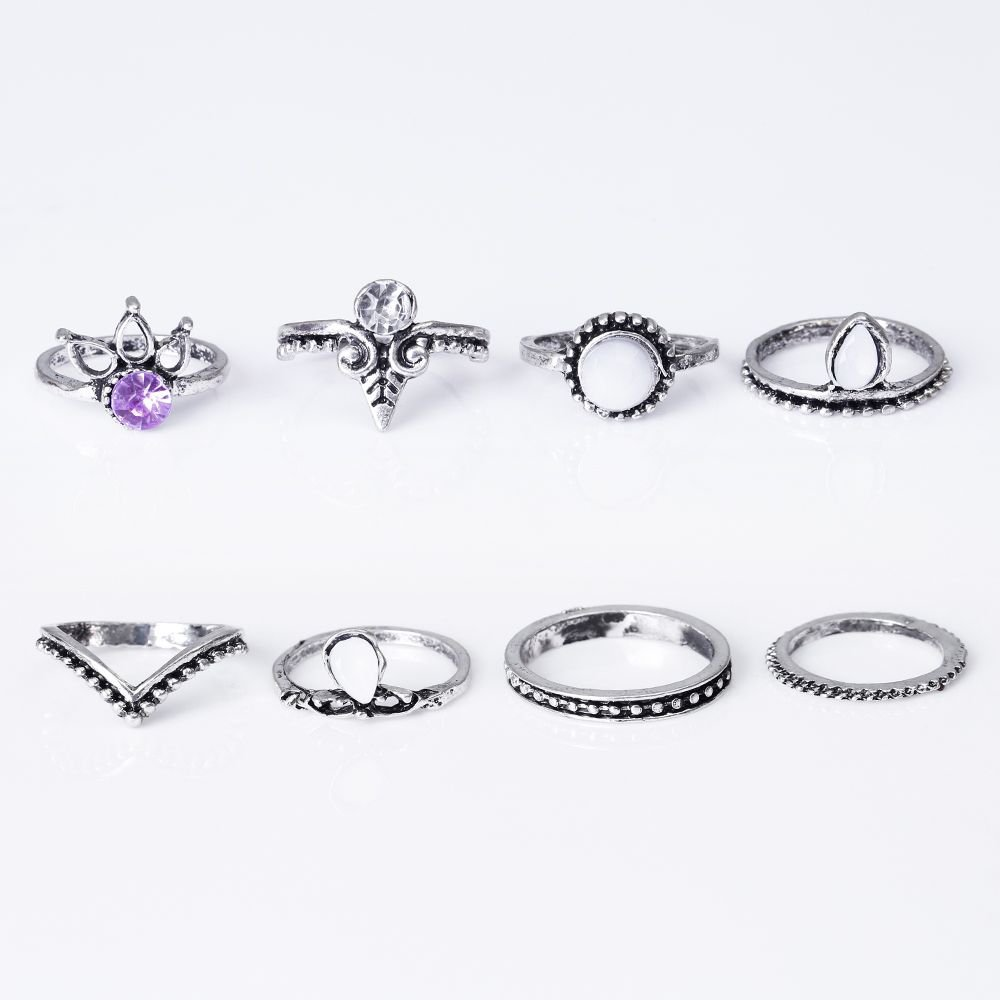 Bohemian 8pcs/Set Retro Anti Silver Color Anti Gold Lucky Stackable Midi Set Rings for Women