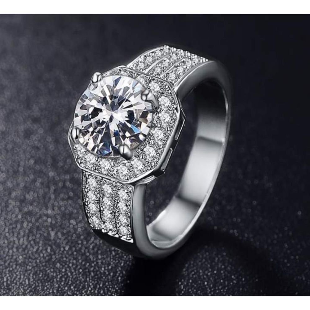 Fashion Queen Silver Color Micro Pave Clear Ring For Women