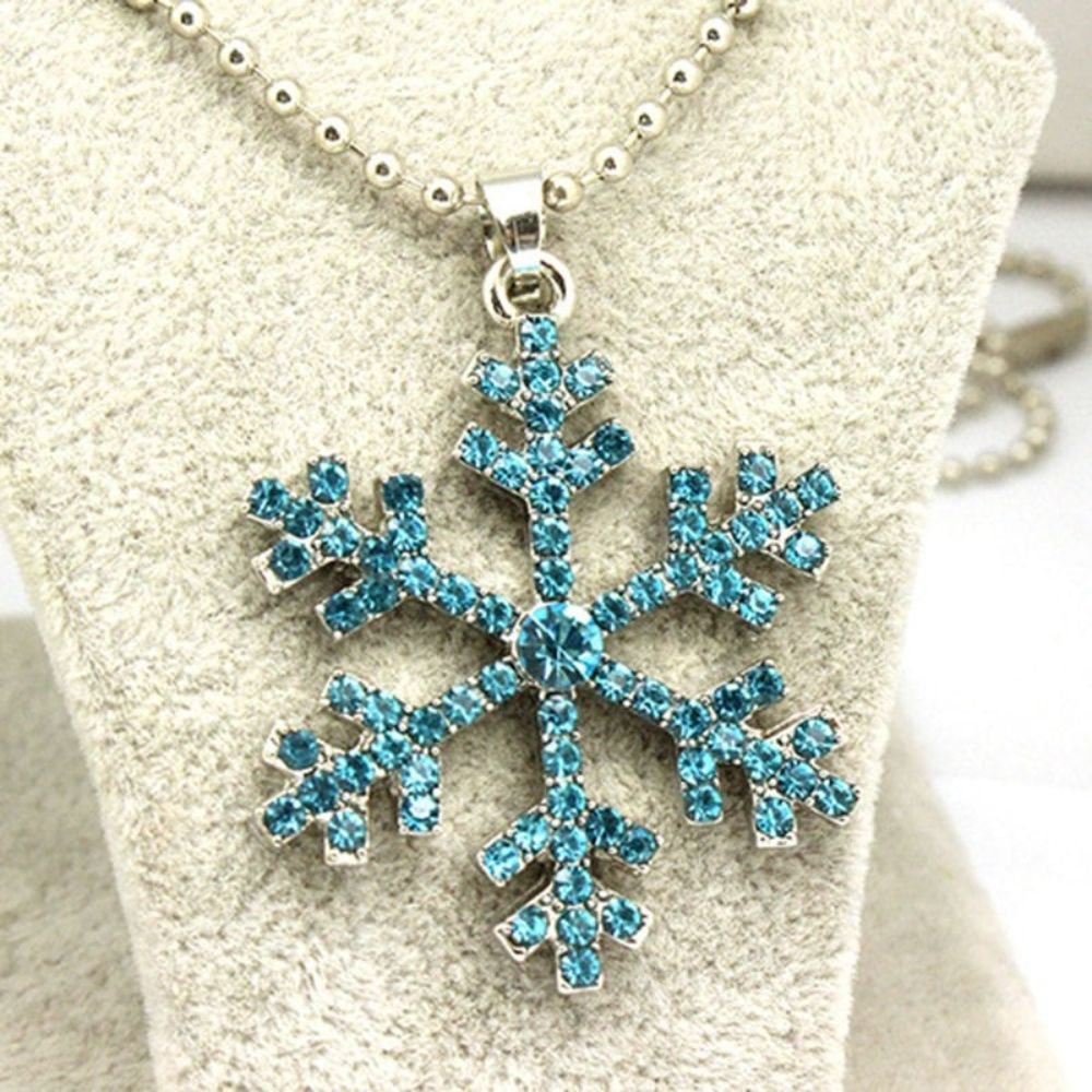 Fashion Crystal Blue Color Crystal Snowflake Flower Pendant Necklace For Women