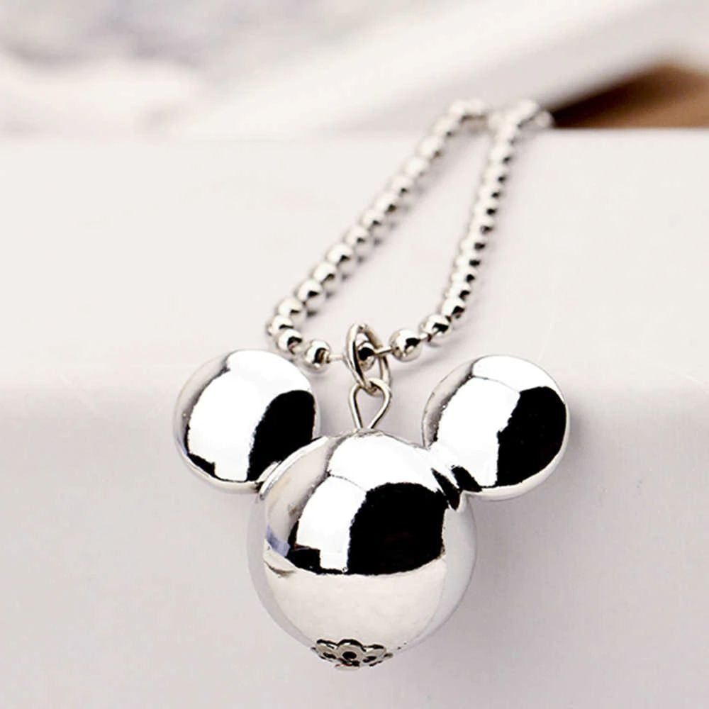 Fashion Wild Long Statement Sweater Chain Silver Plated Mickey Head Pendant Necklace For Women