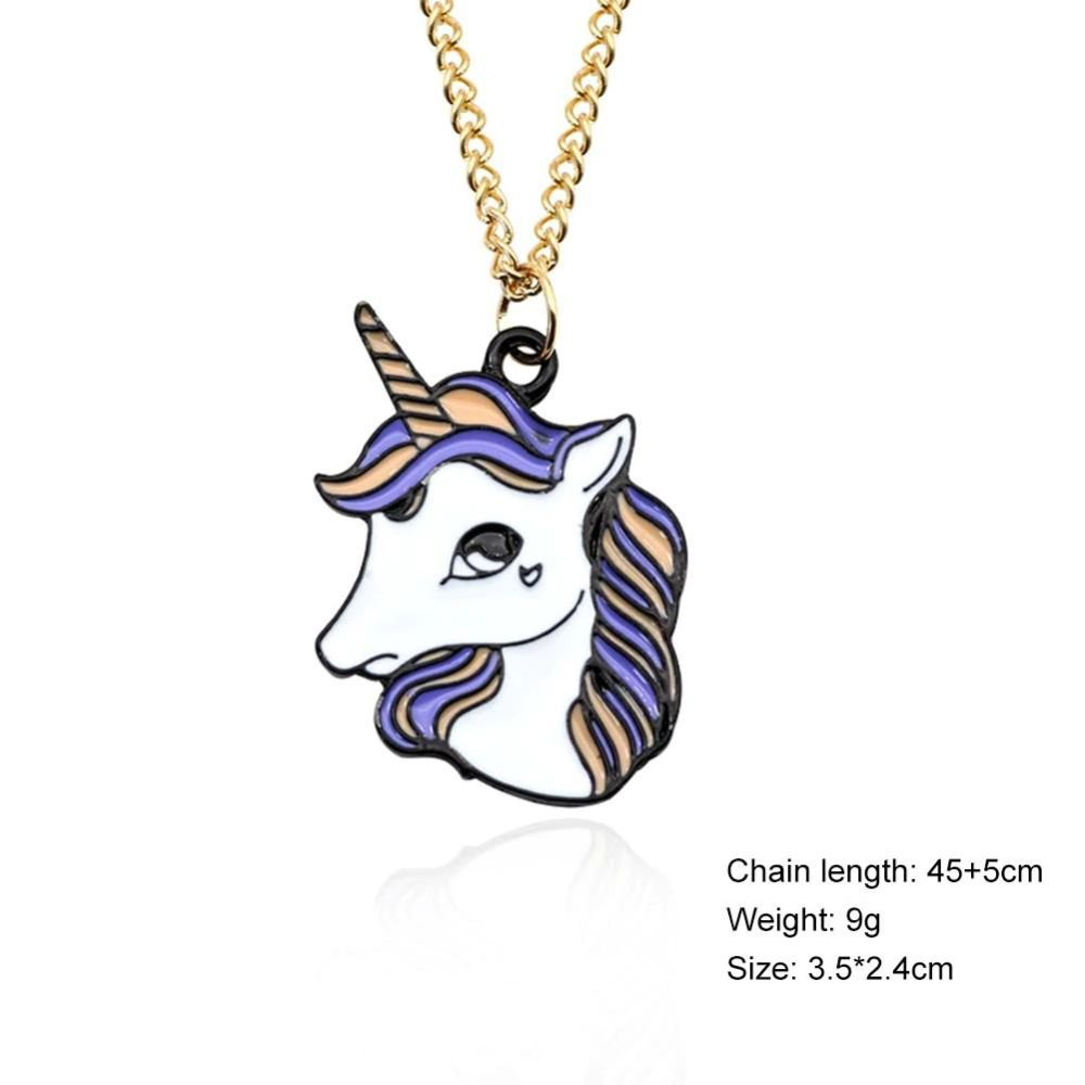 Creative Cartoon Colorful Flying Horse Unicorn Alloy with Golden Chain Necklace Pendant For Women