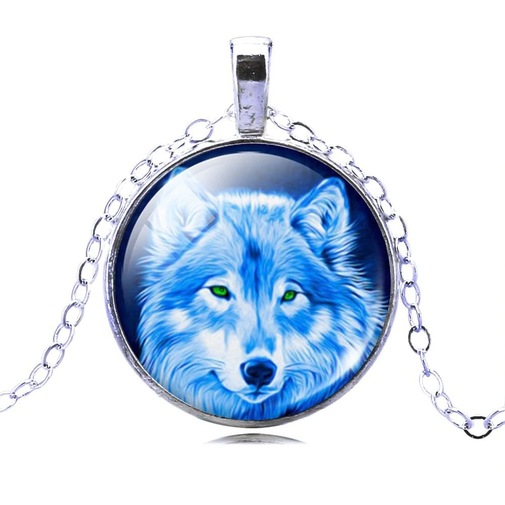 Vintage Wolf Picture Glass Cabochon Statement Chain Pendant Necklace For Women