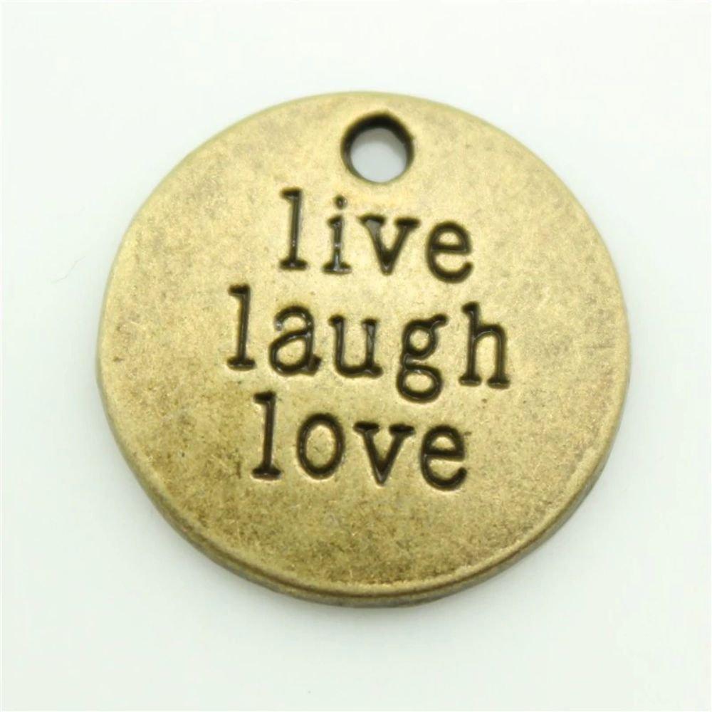 Fashion Ancient Bronze Live Laugh Love Charm Pendant Necklace For Women