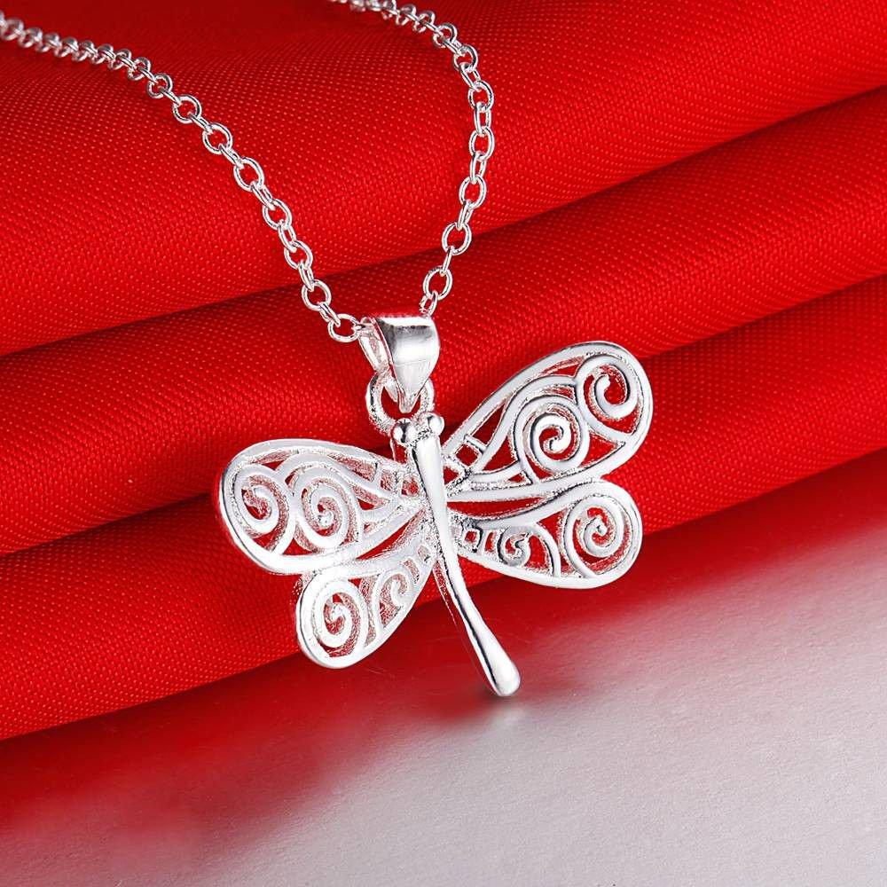 Fashion Good Silver Butterfly Roll/Circles Thin Chain Pendant Necklace For Women