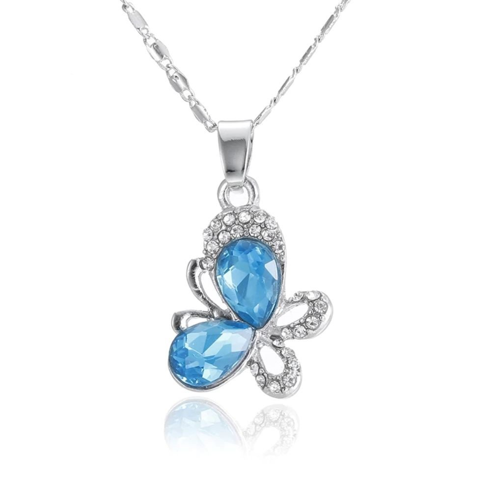 Fashion Silver Plated Butterfly Full Of Rhinestone Pendant Necklace For Women