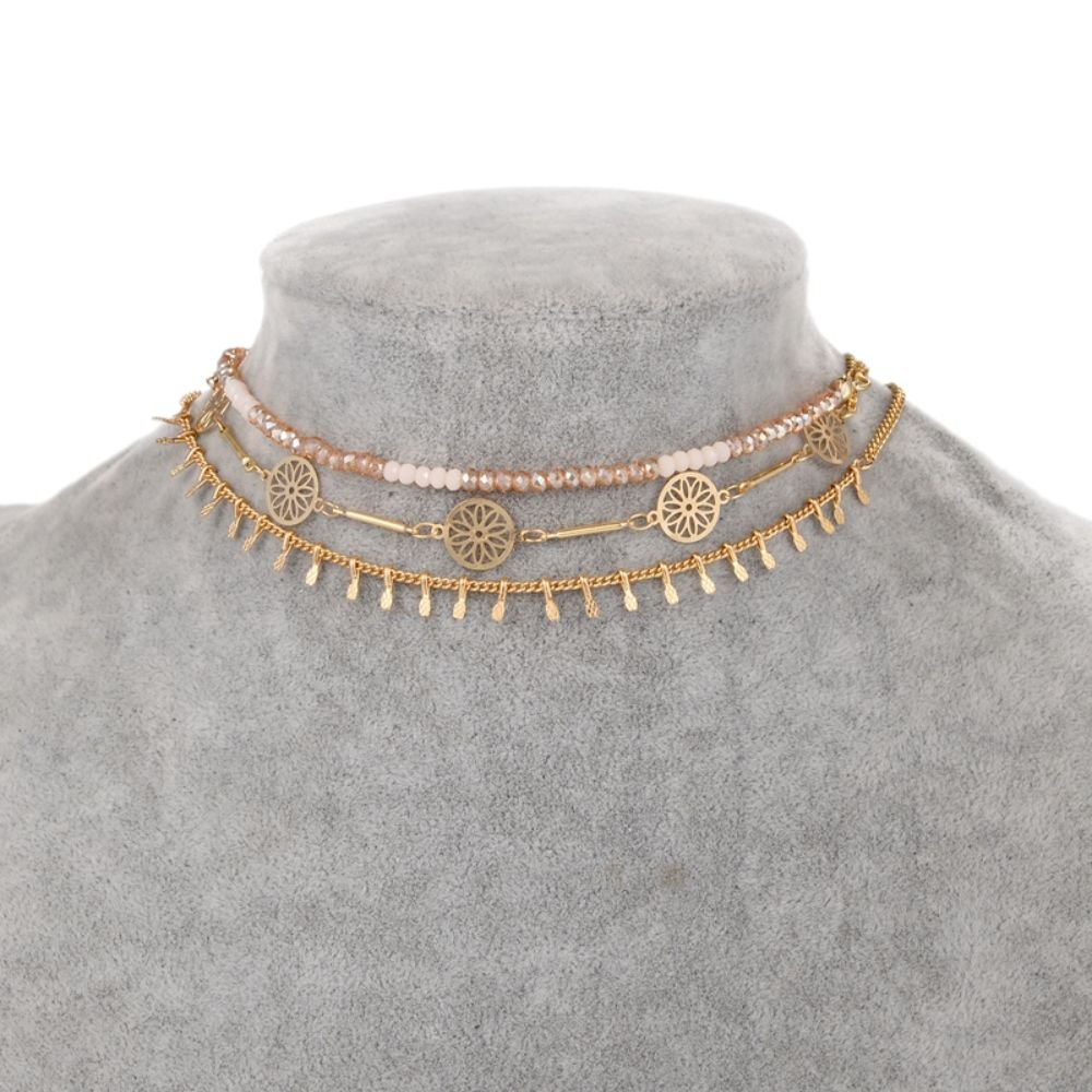 Fashion 3 pcs set Steampunk Handmade Colar Manual Metal Disc Slim Chain Choker Necklace