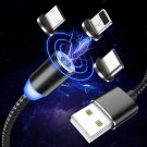 Magnetic Cable 1m Braided Mobile LED Type C Micro USB Magnet Charger Cable (Type C)