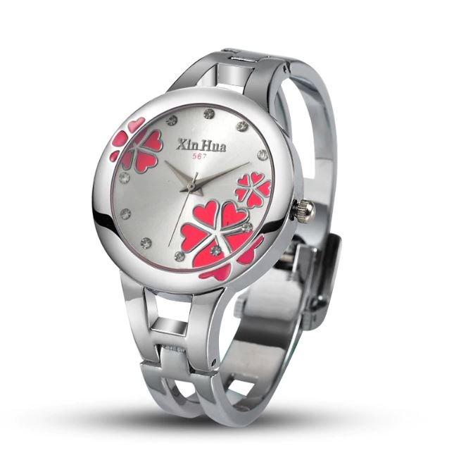 Fashion Luxury Bracelet Quartz Crystal Ladies Watch For Women (Pink)