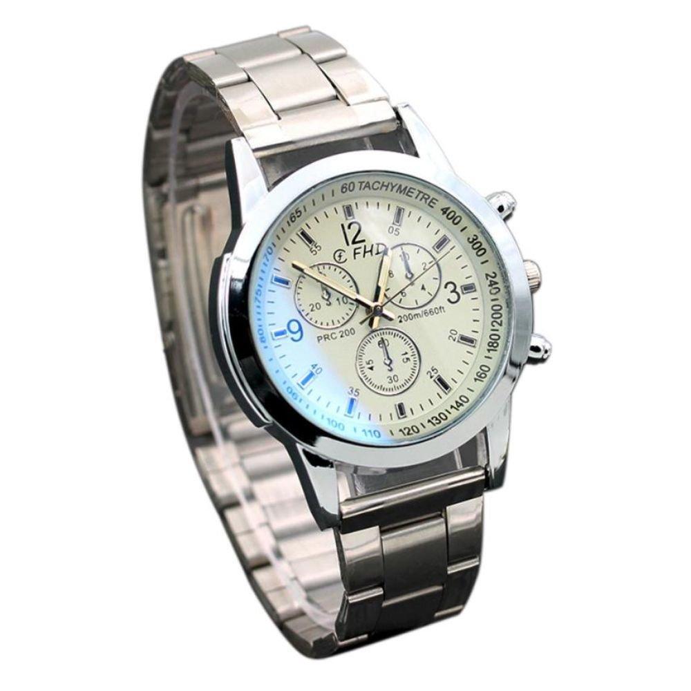 Fashion Luxury Sport Stainless Steel Quartz Analog Wristwatch Watch For Women (White)