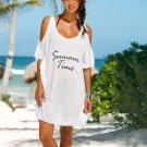 Summer Beach Blouse Tunic Off Shoulder Cotton Letter Printed Robe Dresses For Women (White)