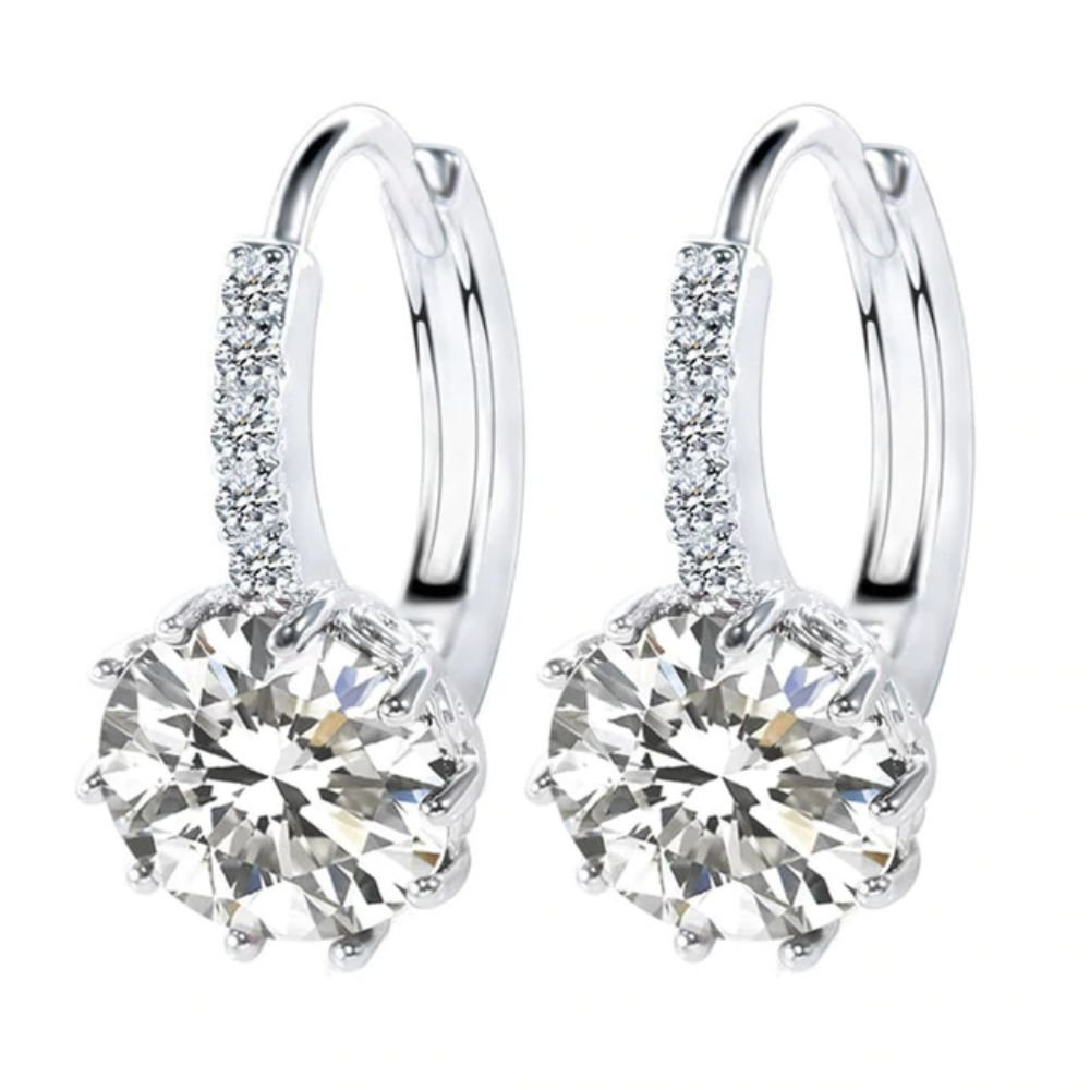 Luxury Round With Cubic Zircon Charm Flower Ear Stud Earrings For Women (White)