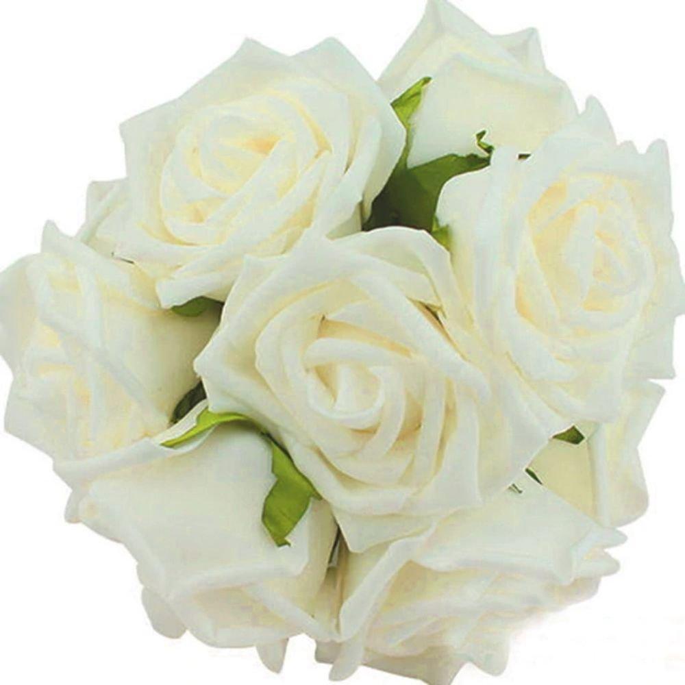 10 Heads 8CM Artificial Rose Flowers Wedding Bride Bouquet PE Foam DIY Home Décor (Beige)