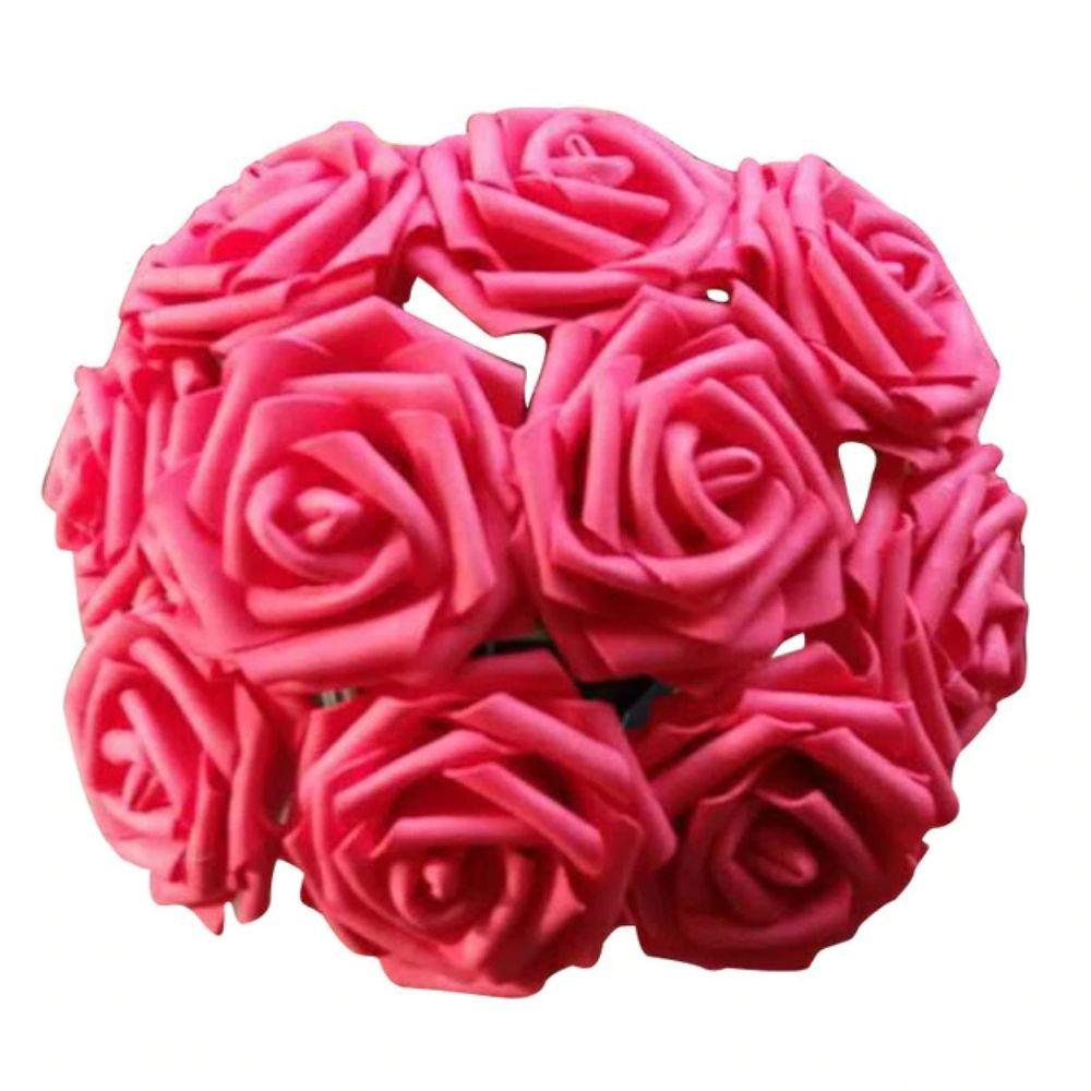 10 Heads 8CM Artificial Rose Flowers Wedding Bride Bouquet PE Foam DIY Home Décor (Red)