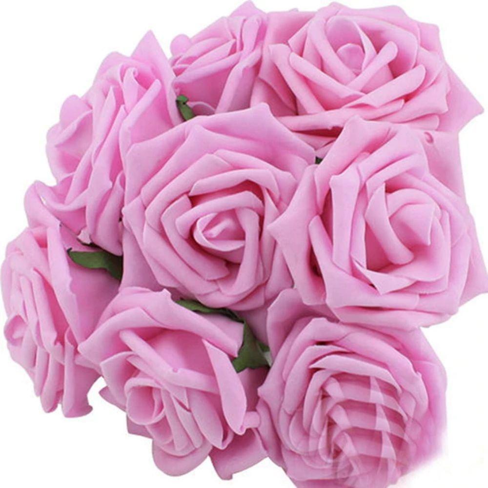 10 Heads 8CM Artificial Rose Flowers Wedding Bride Bouquet PE Foam DIY Home Décor (Pink)