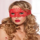 Hollow Lace Erotic Costumes Party Mask For Women (Red)
