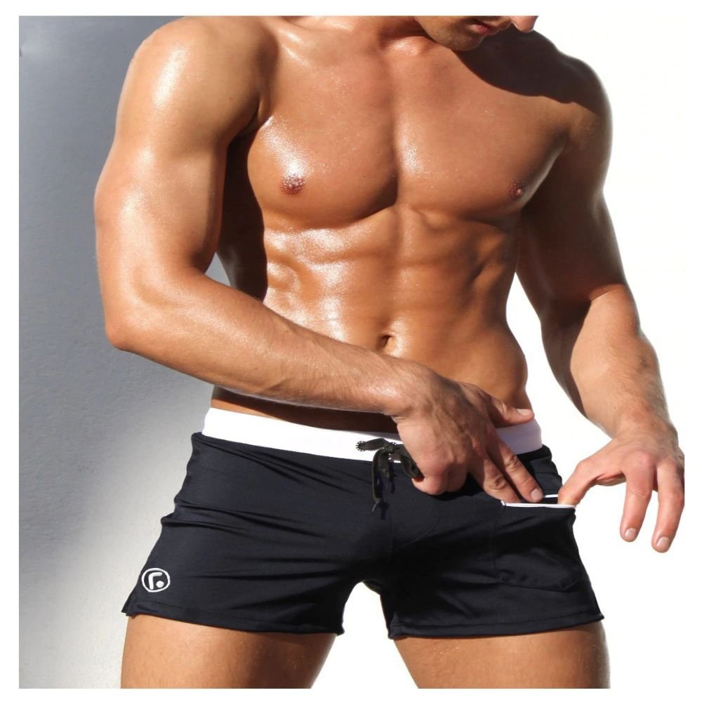 Swimsuits Swimming Boxer Shorts Sports Suits Surf Board Shorts Trunks For Man (Black) (X-Large)