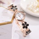 Fashion Luxury Casual Flower Strap Dress Elegance Quartz Bracelet Watch (Black)