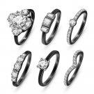 Fashion High Quality Crystal Gold/silver Ring Set Set For Women (Black)