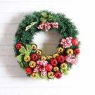 40cm Maple Leaf Pine Christmas Striped Ribbon light post Wreath Decoration Door Wall Ornament