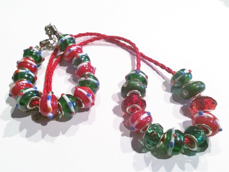 Christmas European Charm Bracelet and Necklace Set