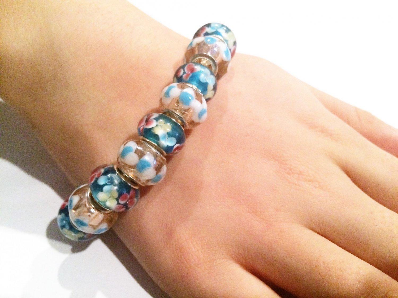Hibiscus European Bead Bracelet