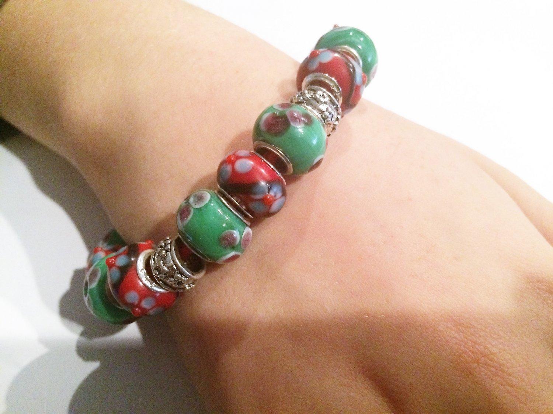 Red Cherry Blossom European Bead Bracelet