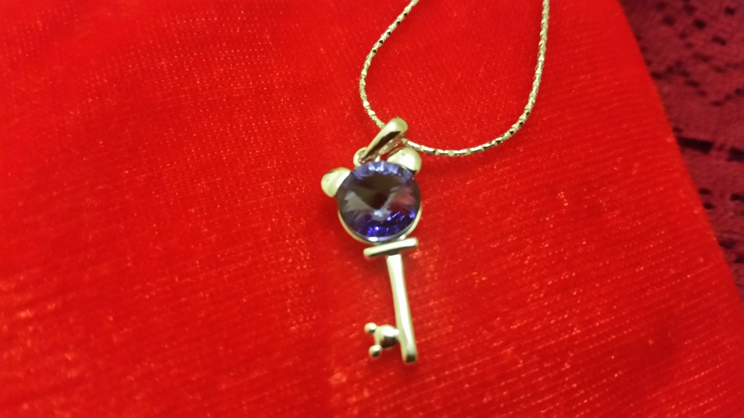 Blue Sapphire Key to my Heart Pendent