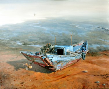 Original oil painting on canvas:old boat