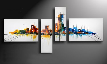 Handmade decorative abstract wall art oil painting on canvascityscape