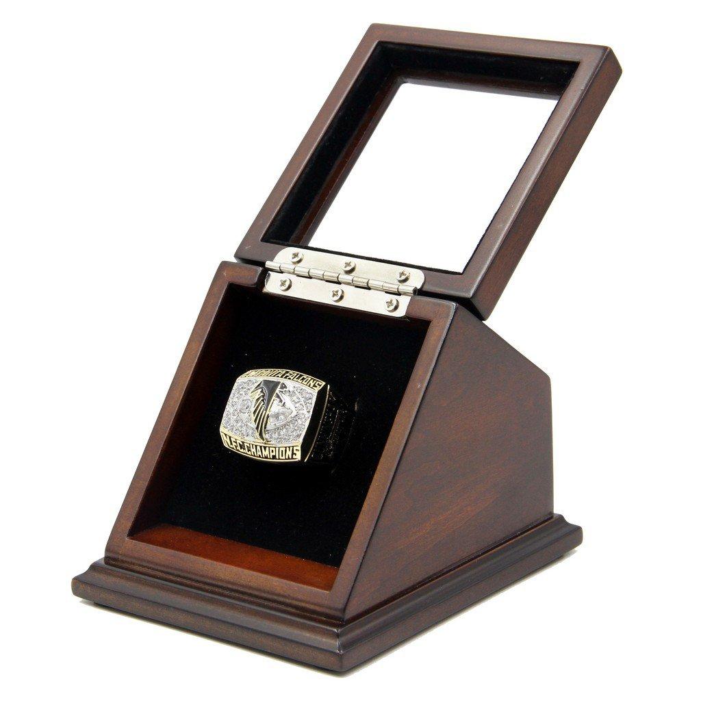 Atlanta Falcons 1998 SB Replica Championship Ring Size 11 with wooden display Case box