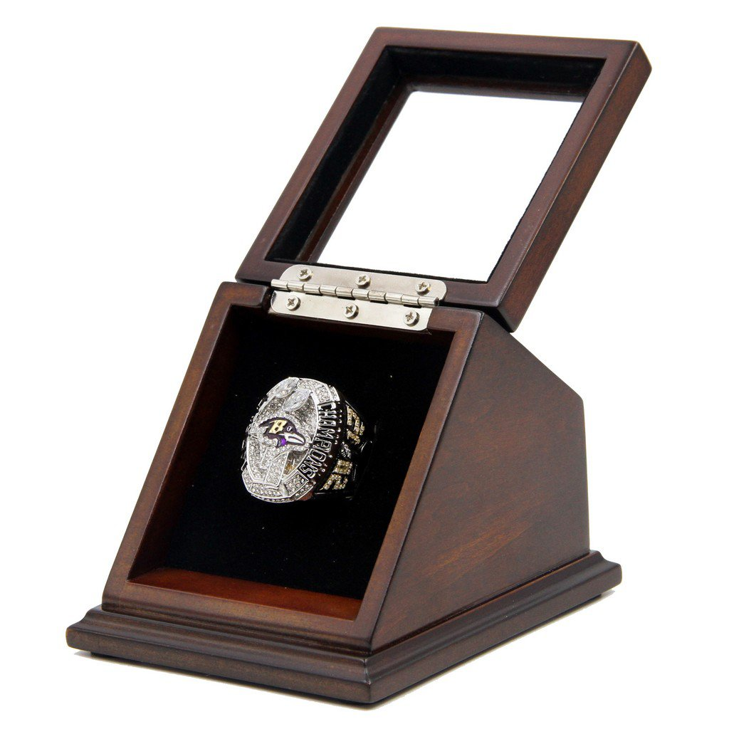 N.F.L Baltimore Ravens 2012 SB XLVII Replica Championship Rings with Wooden Glass Display Case Box