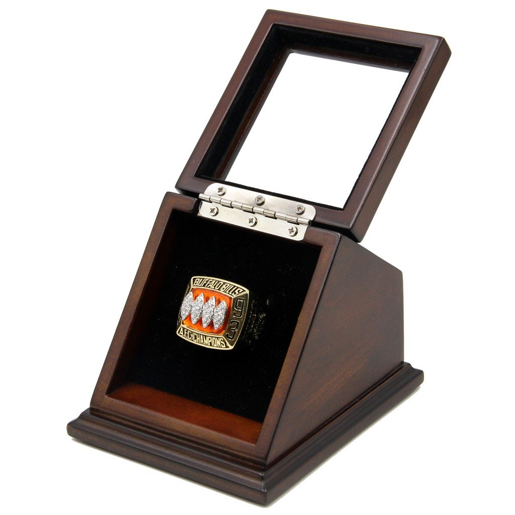 A.F.C 1993 Buffalo Bills SB Replica Championship Ring with Wooden Glass display Case Box Size 11