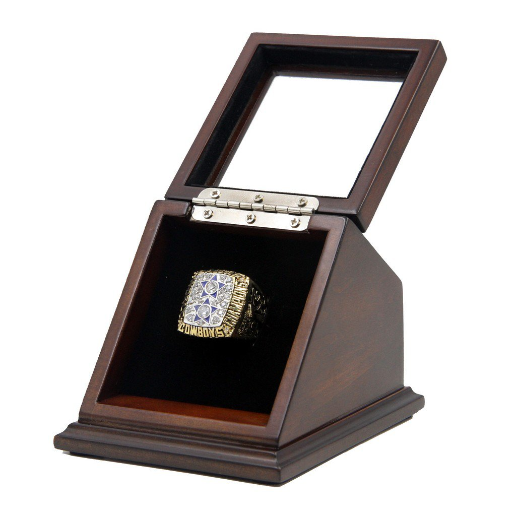 Dallas Cowboys 1977 SB XII Replica Championship Rings with Wooden display Case Box