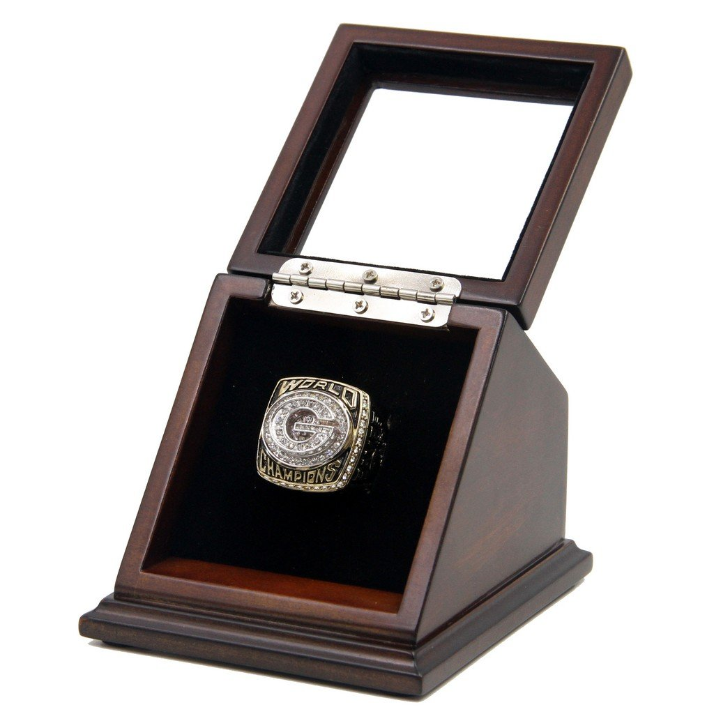 Green Bay Packers 1996 SB XXXI Replica Championship Rings with Wooden display Case Box