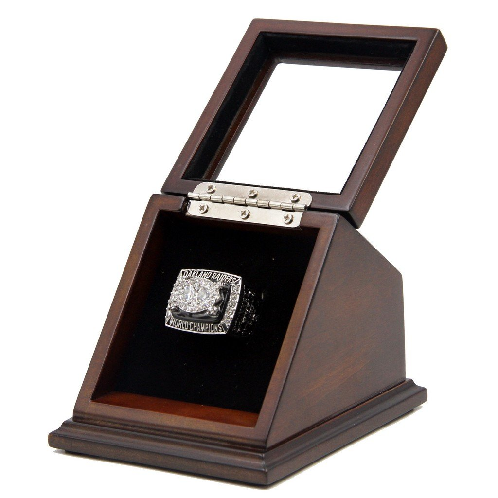 N-F-L 1980 Oakland Raiders Super Bowl XV Replica Championship Rings with Wooden display Case