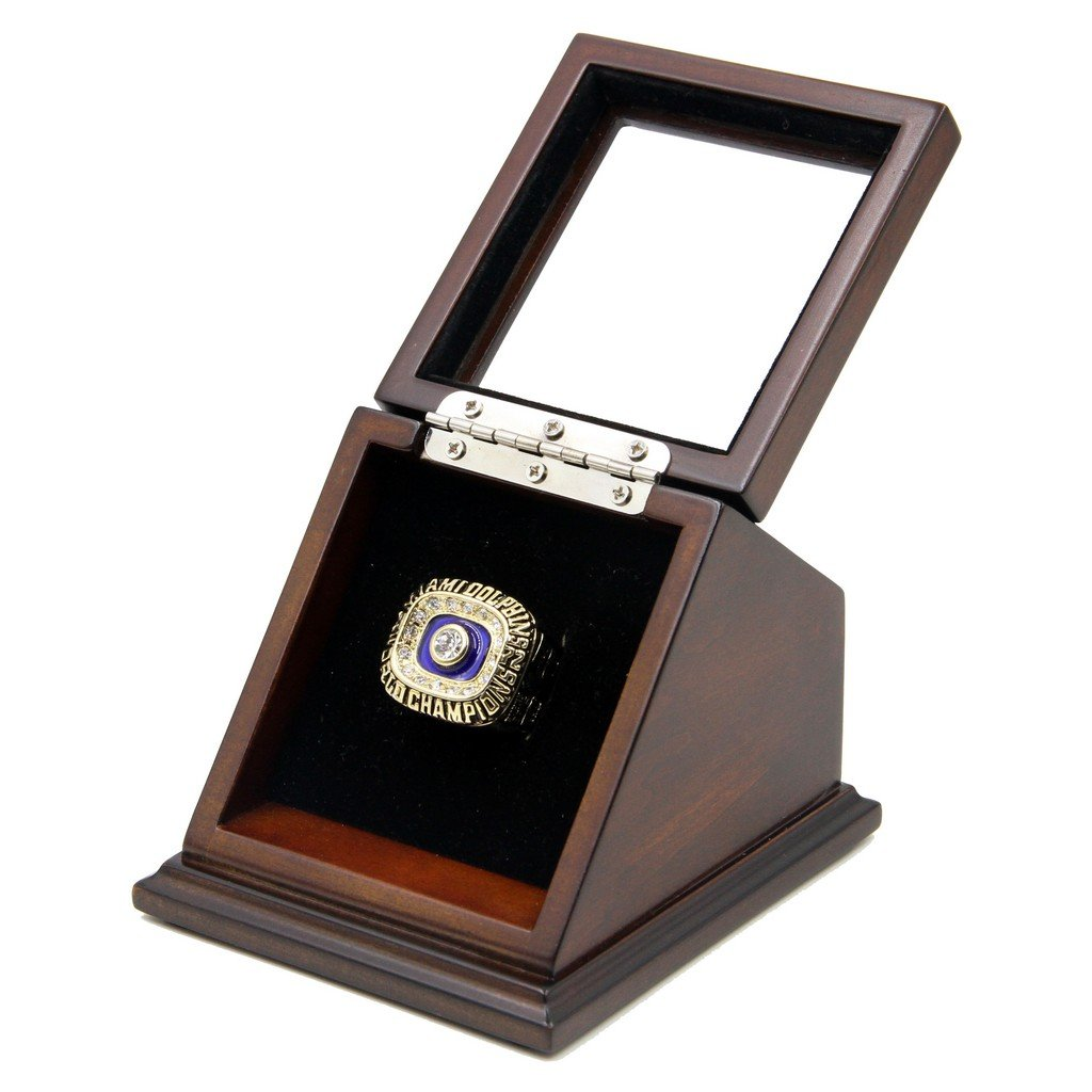 Miami Dolphins 1972 Super-Bowl VII Replica Championship Fan Rings with Wooden display Case Size 11