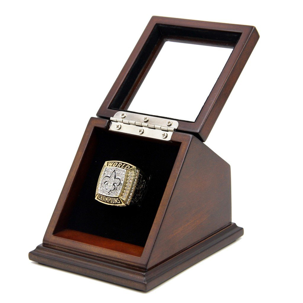 N-F-L 20 09 New Orleans Saints Super Bowl XLIV Replica Championship Rings with Wooden display Case