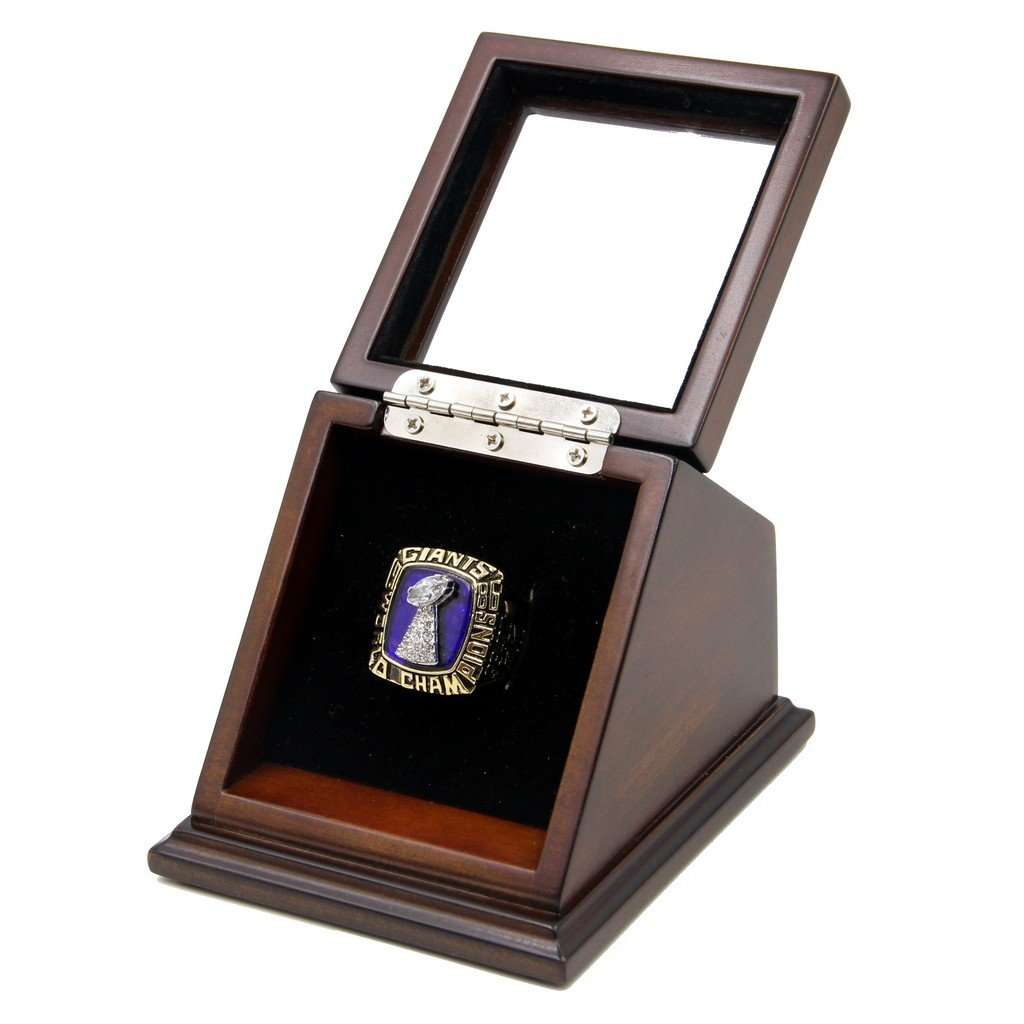 N-F-L 1986 New York Giants Super Bowl XXI Replica Championship Rings with Wooden display Case